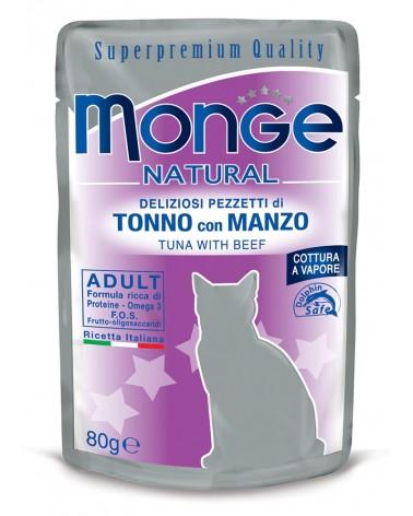 Monge Adult Gatto pezzetti di Tonno con Manzo cotti a vapore 80 Gr