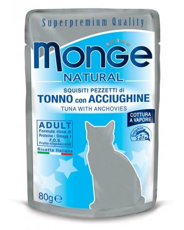 Monge Adult Gatto pezzetti di Tonno con Acciughine cotti a vapore 80 Gr