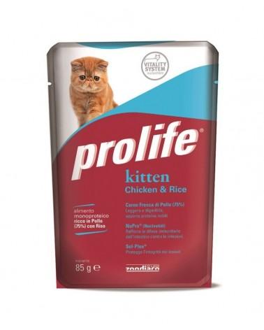 Prolife Gatti Kitten Umido Patè di Pollo e Riso 85 Gr