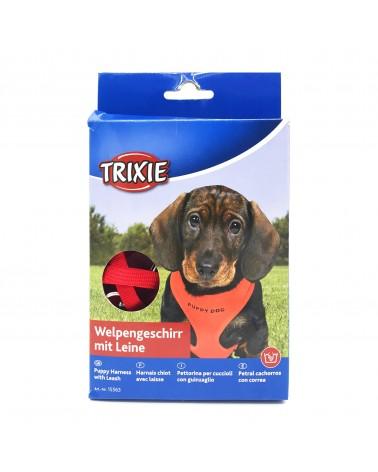 Trixie Pettorina con guinzaglio per cuccioli XS-S rosso