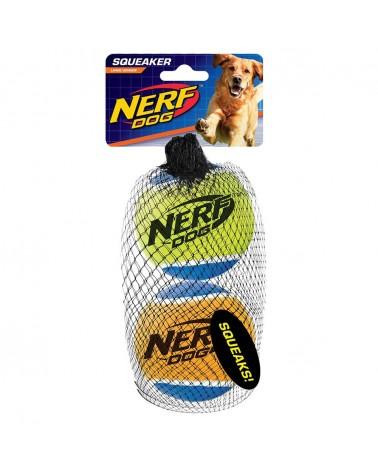 Nerf Dog Solid Tuff Palle da tennis con squittio L 2 pz
