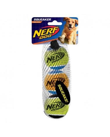 Nerf Dog Solid Tuff Palle da tennis con squittio S 3 pz