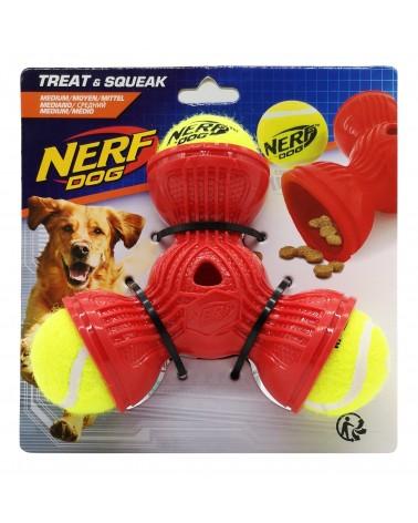 Nerf Dog Treat & Squeak Trio M in gomma 3 palline da tennis e sorpresa