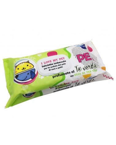 I Love my Pet Salviette detergenti Tè verde per Cani e Gatti 100 Pz