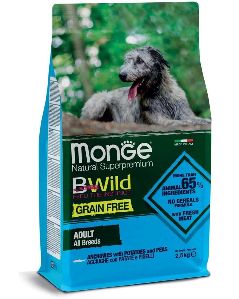Monge BWild Grain Free All Breeds Acciughe, Patate e Piselli 2,5kg