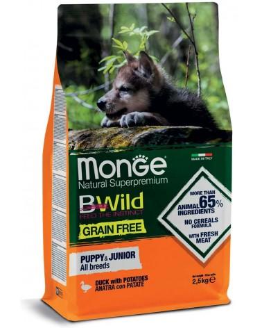 Monge BWild Grain Free All Breeds Puppy & Junior Anatra e Patate 2,5kg