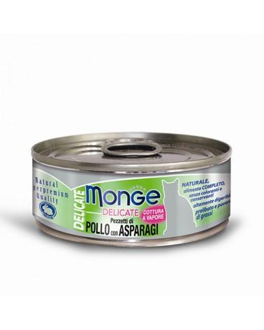 Monge Gatti Delicate Adult Pollo con Asparagi cotto al vapore 80 Gr