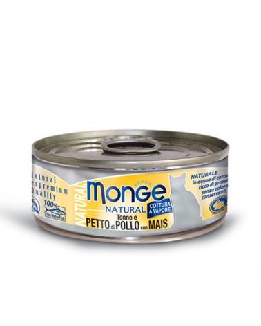 Monge Gatti Natural Adult Petto di Pollo con Mais cotto al vapore 80 Gr