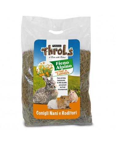 Throls fieno alpino con Fiori di Calendula per conigli nani, cavie e piccoli roditori 500 Gr