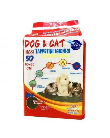 Dog e Cat Tappetini igienici a carboni di bambu 50pz 60x60 cm