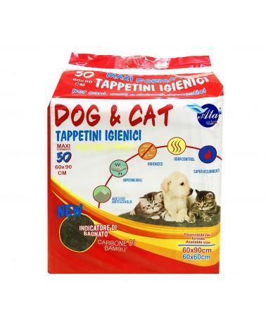 Dog e Cat Tappetini igienici a carboni di bambu 50pz 60x90 cm