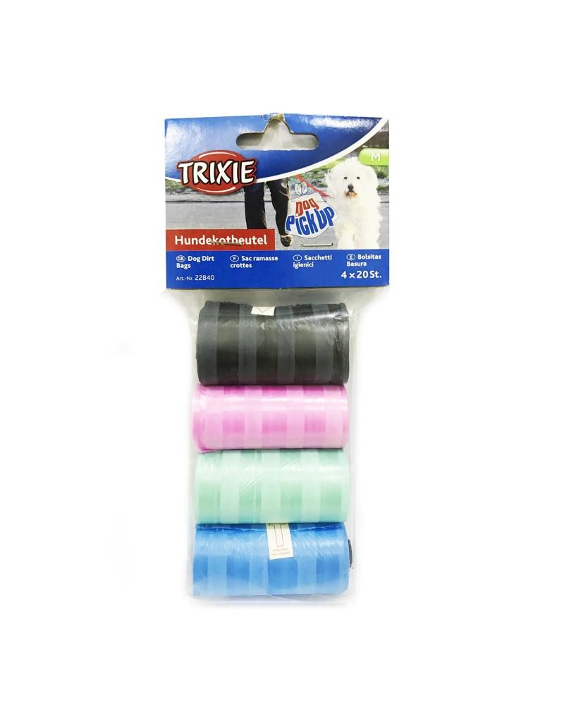 Trixie rotoli di sacchetti igienici per Cani, Misura M, 4x20 pezzi colori assortiti