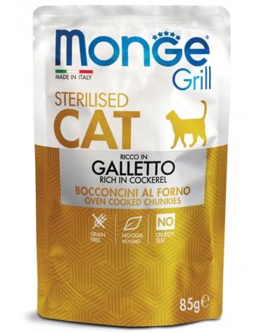 Monge Grill Adult Gatto Sterilised Bocconcini di Galletto al forno 85 Gr