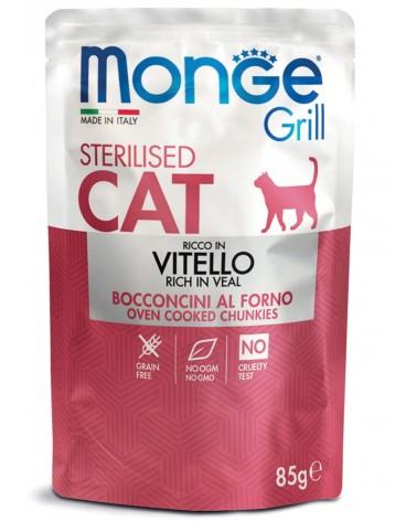 Monge Grill Adult Sterilised Gatto Bocconcini di Vitello al forno 85 Gr