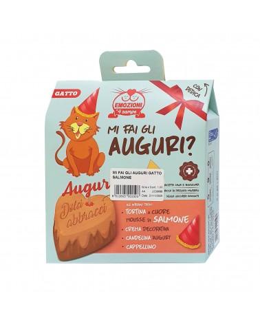 Kit Gatti Mi fai gli auguri? Tortina a cuore mouse di Salmone, crema, candelina e cappellino