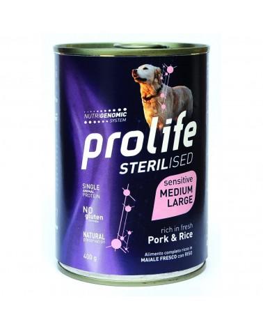 Prolife Cani Sterilised Adult Sensitive Medium Large Umido con Maiale e Riso 400 Gr