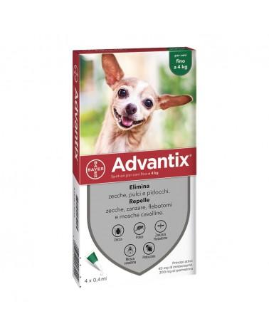 Advantix Cani soluzione Spot-ON 4 pipette 0-4 Kg