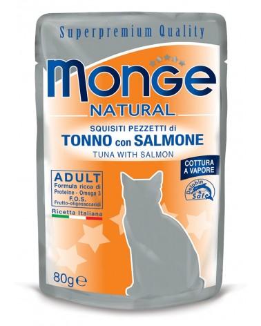Monge Adult Gatto pezzetti di Salmone e Tonno cotti a vapore 80 Gr