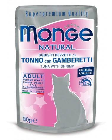 Monge Adult Gatto pezzetti di Tonno con Gamberetti cotti a vapore 80 Gr